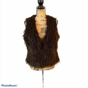 Boden Faux Fur Vest Brown Tie Front Size Large